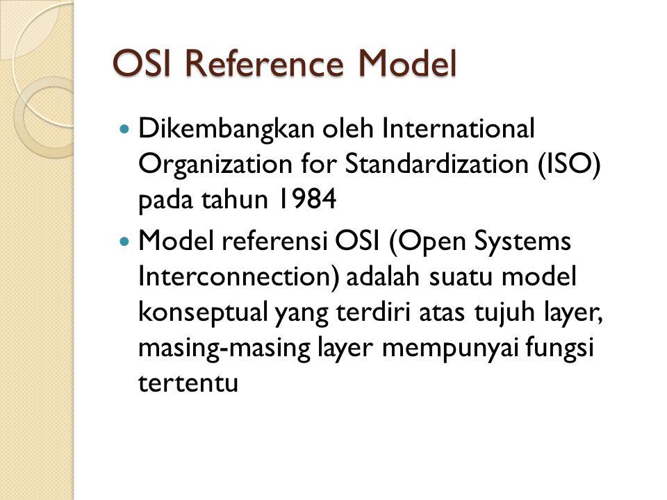 OSI Reference Model Setiap layer memiliki sifat self-contained (fungsi yang diberikan ke setiap layer) dapat diimplementasikan secara independent (updating fungsi suatu layer tidak akan mempengaruhi layer yang lain) OSI memungkinkan interkoneksi komputer multivendor
