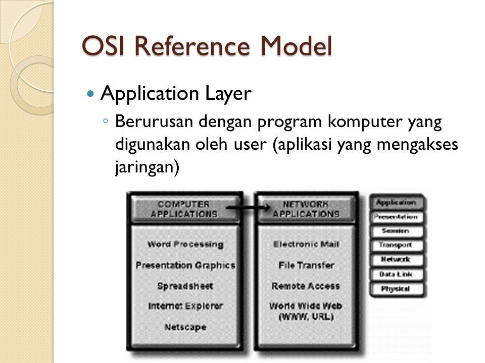 OSI Reference Model Presentation Layer ◦ Bertugas mengatur format data yang dipahami oleh berbagai macam media