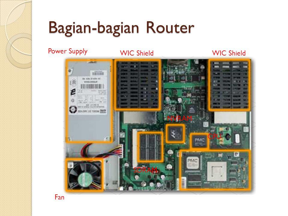 Bagian-bagian Router Power Supply Fan SDRAM NVRAM CPU WIC Shield