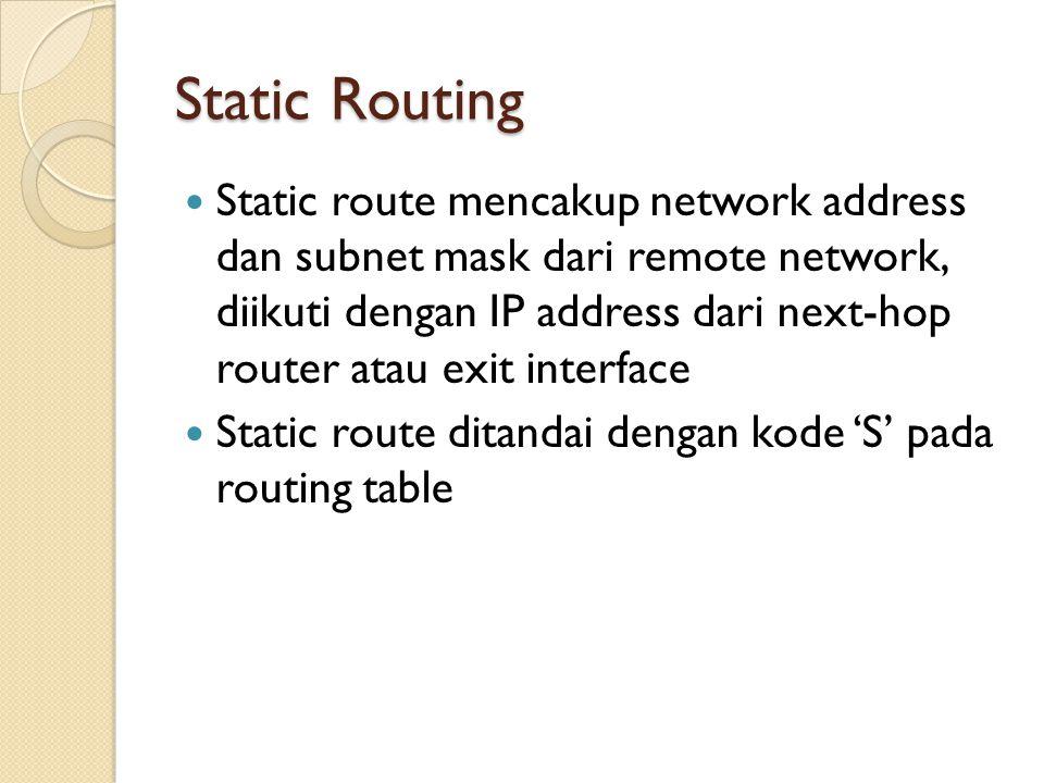 Static Routing Static route mencakup network address dan subnet mask dari remote network, diikuti dengan IP address dari next-hop router atau exit int