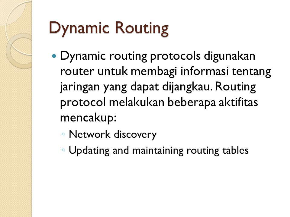 Dynamic Routing Dynamic routing protocols digunakan router untuk membagi informasi tentang jaringan yang dapat dijangkau.