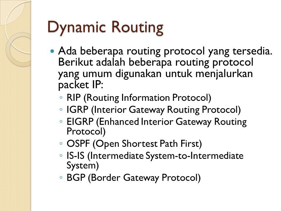 Dynamic Routing Ada beberapa routing protocol yang tersedia.