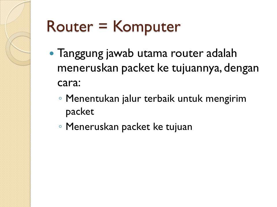 Router = Komputer Tanggung jawab utama router adalah meneruskan packet ke tujuannya, dengan cara: ◦ Menentukan jalur terbaik untuk mengirim packet ◦ Meneruskan packet ke tujuan