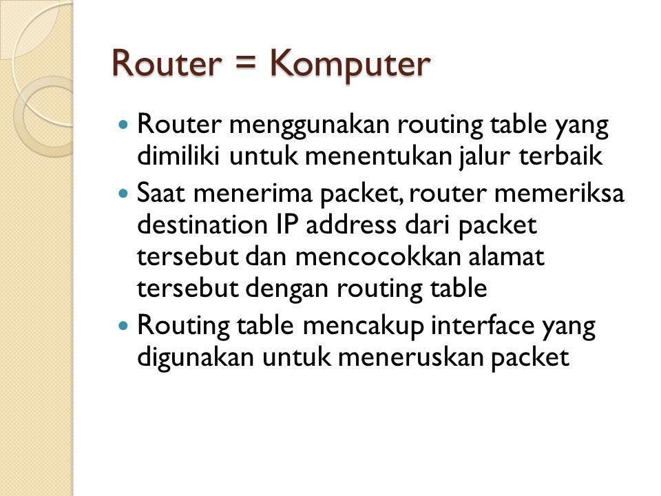 Router = Komputer Router menggunakan routing table yang dimiliki untuk menentukan jalur terbaik Saat menerima packet, router memeriksa destination IP address dari packet tersebut dan mencocokkan alamat tersebut dengan routing table Routing table mencakup interface yang digunakan untuk meneruskan packet