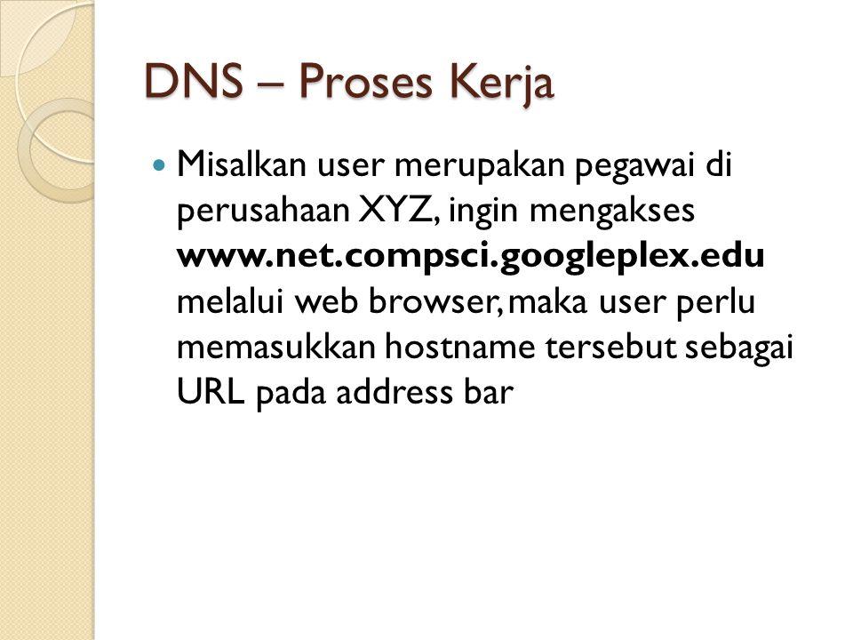 DNS – Proses Kerja Misalkan user merupakan pegawai di perusahaan XYZ, ingin mengakses www.net.compsci.googleplex.edu melalui web browser, maka user perlu memasukkan hostname tersebut sebagai URL pada address bar