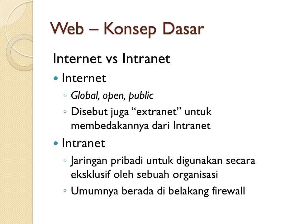 Web – Konsep Dasar Internet vs Intranet Internet ◦ Global, open, public ◦ Disebut juga extranet untuk membedakannya dari Intranet Intranet ◦ Jaringan pribadi untuk digunakan secara eksklusif oleh sebuah organisasi ◦ Umumnya berada di belakang firewall