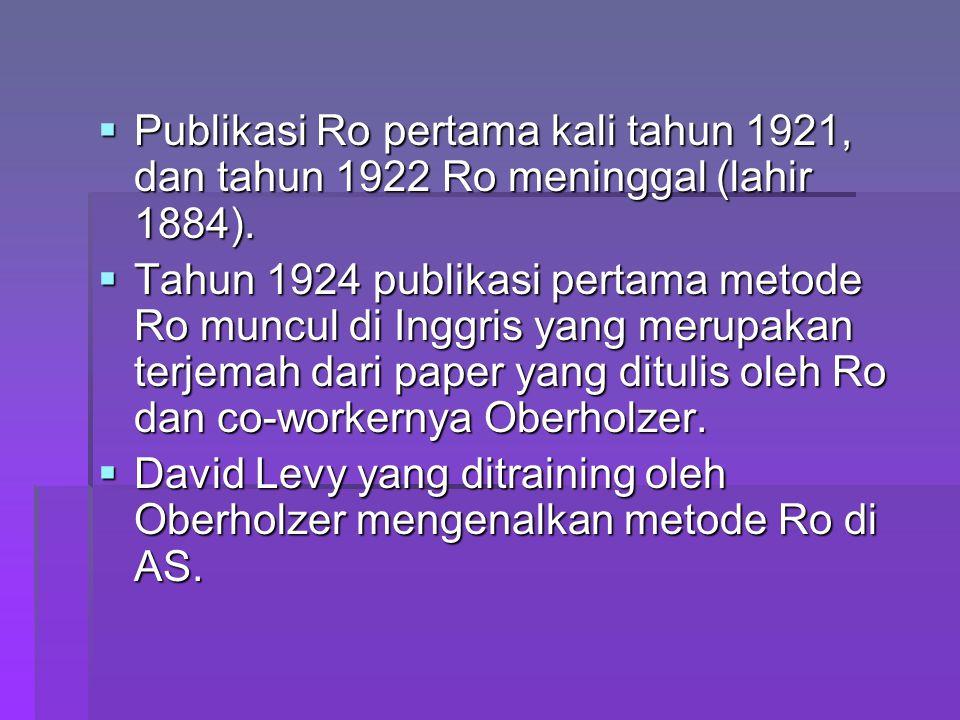  Publikasi Ro pertama kali tahun 1921, dan tahun 1922 Ro meninggal (lahir 1884).  Tahun 1924 publikasi pertama metode Ro muncul di Inggris yang meru