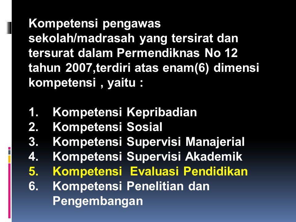 Kompetensi pengawas sekolah/madrasah yang tersirat dan tersurat dalam Permendiknas No 12 tahun 2007,terdiri atas enam(6) dimensi kompetensi, yaitu : 1.Kompetensi Kepribadian 2.Kompetensi Sosial 3.Kompetensi Supervisi Manajerial 4.Kompetensi Supervisi Akademik 5.Kompetensi Evaluasi Pendidikan 6.Kompetensi Penelitian dan Pengembangan