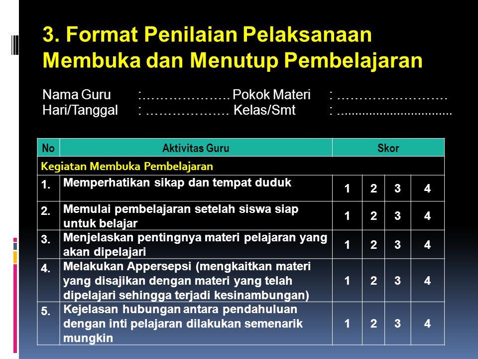 3.Format Penilaian Pelaksanaan Membuka dan Menutup Pembelajaran Nama Guru :………………..