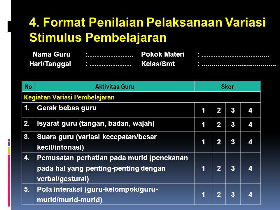 4.Format Penilaian Pelaksanaan Variasi Stimulus Pembelajaran Nama Guru :………………..