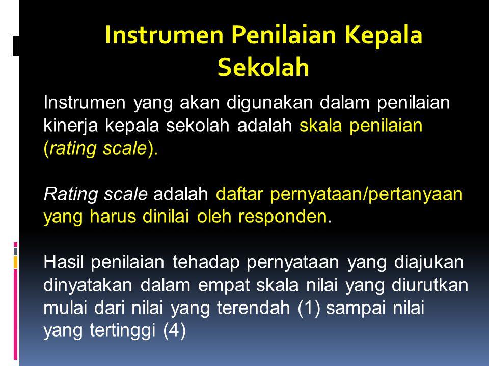 Instrumen Penilaian Kepala Sekolah Instrumen yang akan digunakan dalam penilaian kinerja kepala sekolah adalah skala penilaian (rating scale).