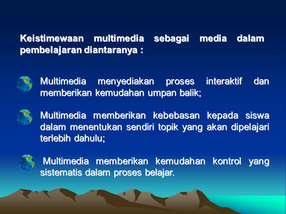 Multimedia menyediakan proses interaktif dan memberikan kemudahan umpan balik; Multimedia memberikan kebebasan kepada siswa dalam menentukan sendiri topik yang akan dipelajari terlebih dahulu; Multimedia memberikan kemudahan kontrol yang sistematis dalam proses belajar.