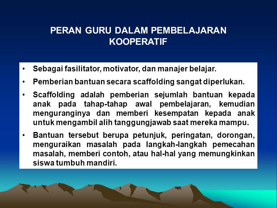 Sebagai fasilitator, motivator, dan manajer belajar.
