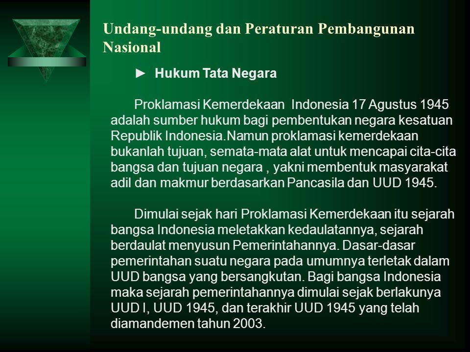 Undang-undang dan Peraturan Pembangunan Nasional ► Hukum Tata Negara Proklamasi Kemerdekaan Indonesia 17 Agustus 1945 adalah sumber hukum bagi pembent