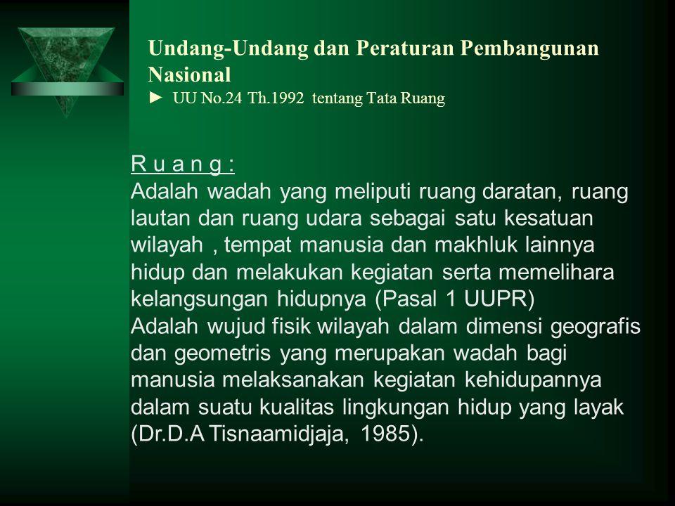 Undang-Undang dan Peraturan Pembangunan Nasional ► UU No.24 Th.1992 tentang Tata Ruang R u a n g : Adalah wadah yang meliputi ruang daratan, ruang lau