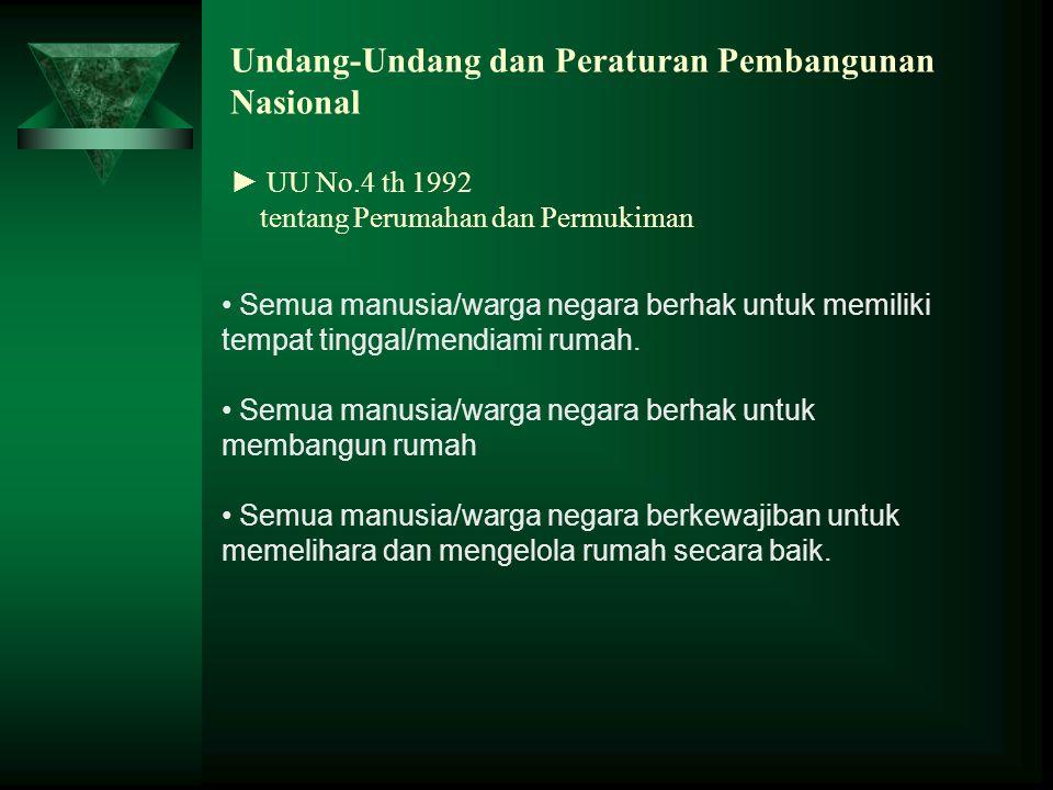 Undang-Undang dan Peraturan Pembangunan Nasional ► UU No.4 th 1992 tentang Perumahan dan Permukiman Semua manusia/warga negara berhak untuk memiliki t