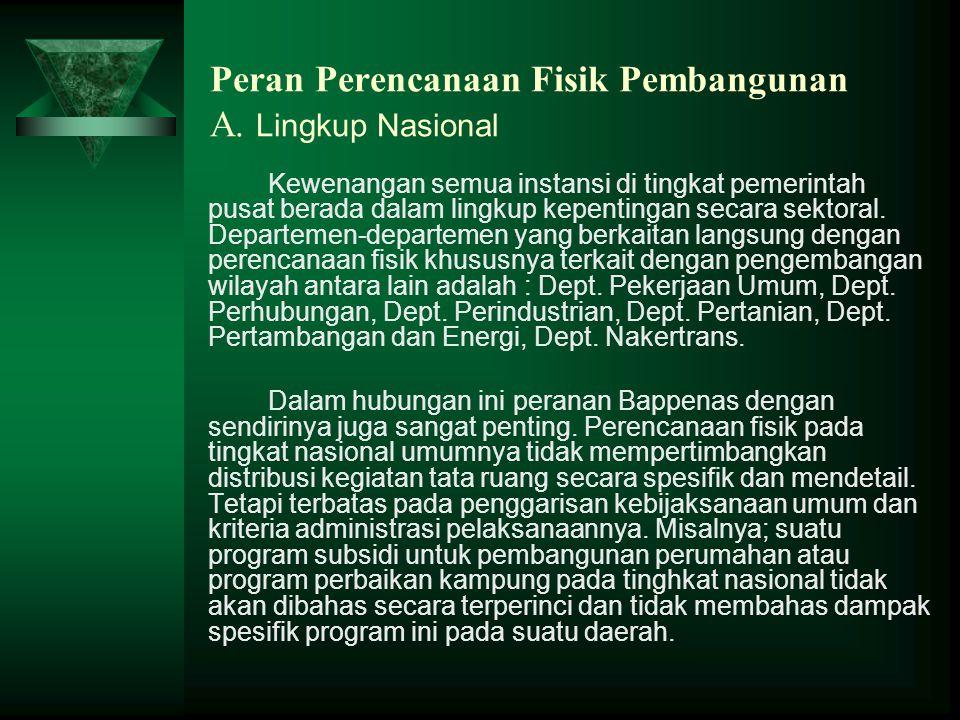 Peran Perencanaan Fisik Pembangunan A. Lingkup Nasional Kewenangan semua instansi di tingkat pemerintah pusat berada dalam lingkup kepentingan secara