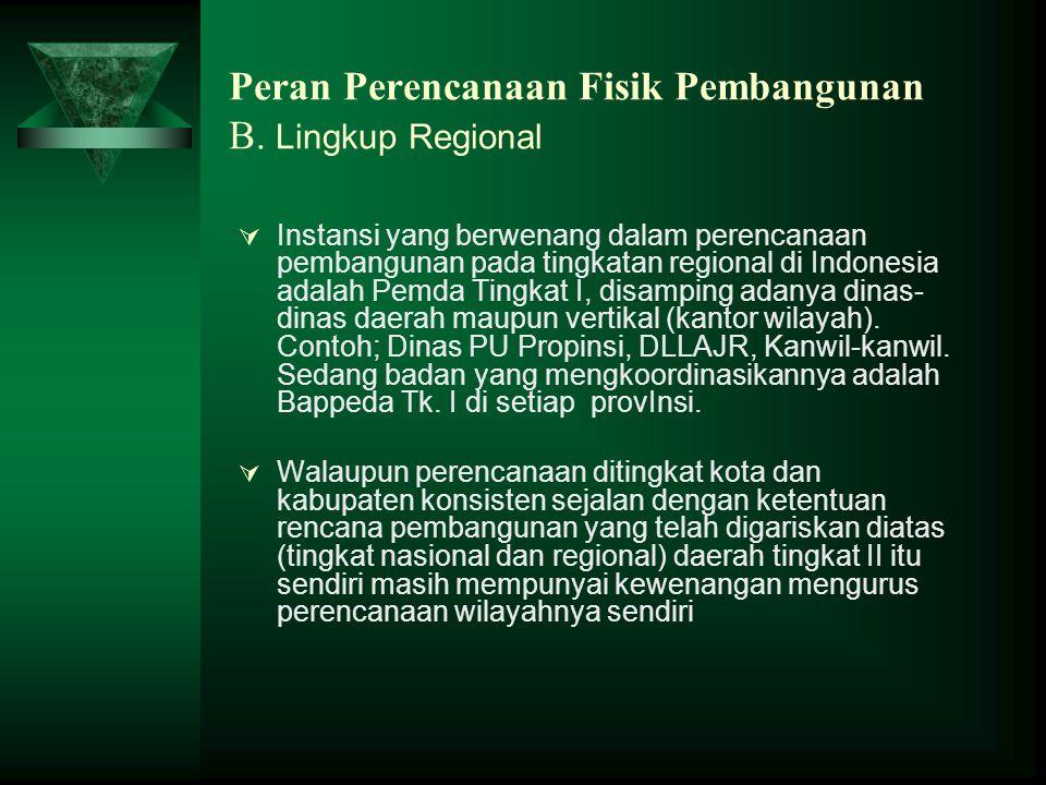Peran Perencanaan Fisik Pembangunan B. Lingkup Regional  Instansi yang berwenang dalam perencanaan pembangunan pada tingkatan regional di Indonesia a