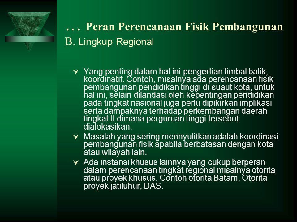 … Peran Perencanaan Fisik Pembangunan B. Lingkup Regional  Yang penting dalam hal ini pengertian timbal balik, koordinatif. Contoh, misalnya ada pere