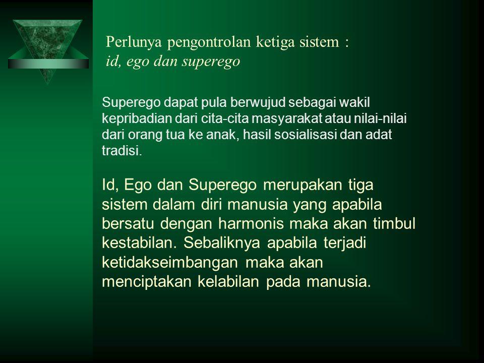 Perlunya pengontrolan ketiga sistem : id, ego dan superego Superego dapat pula berwujud sebagai wakil kepribadian dari cita-cita masyarakat atau nilai