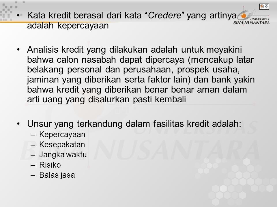 """Kata kredit berasal dari kata """"Credere"""" yang artinya adalah kepercayaan Analisis kredit yang dilakukan adalah untuk meyakini bahwa calon nasabah dapat"""