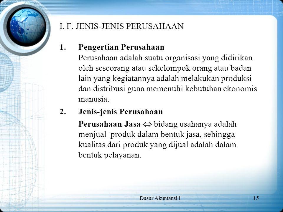Dasar Akuntansi 115 I. F. JENIS-JENIS PERUSAHAAN 1.Pengertian Perusahaan Perusahaan adalah suatu organisasi yang didirikan oleh seseorang atau sekelom