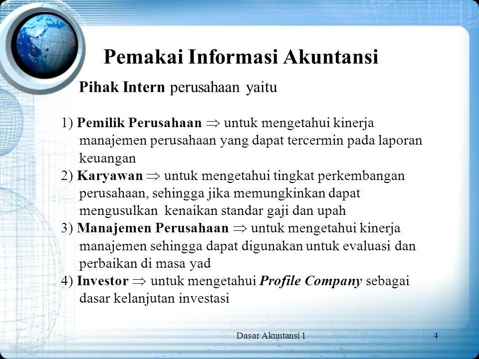 Dasar Akuntansi 14 Pemakai Informasi Akuntansi Pihak Intern perusahaan yaitu 1) Pemilik Perusahaan  untuk mengetahui kinerja manajemen perusahaan yan