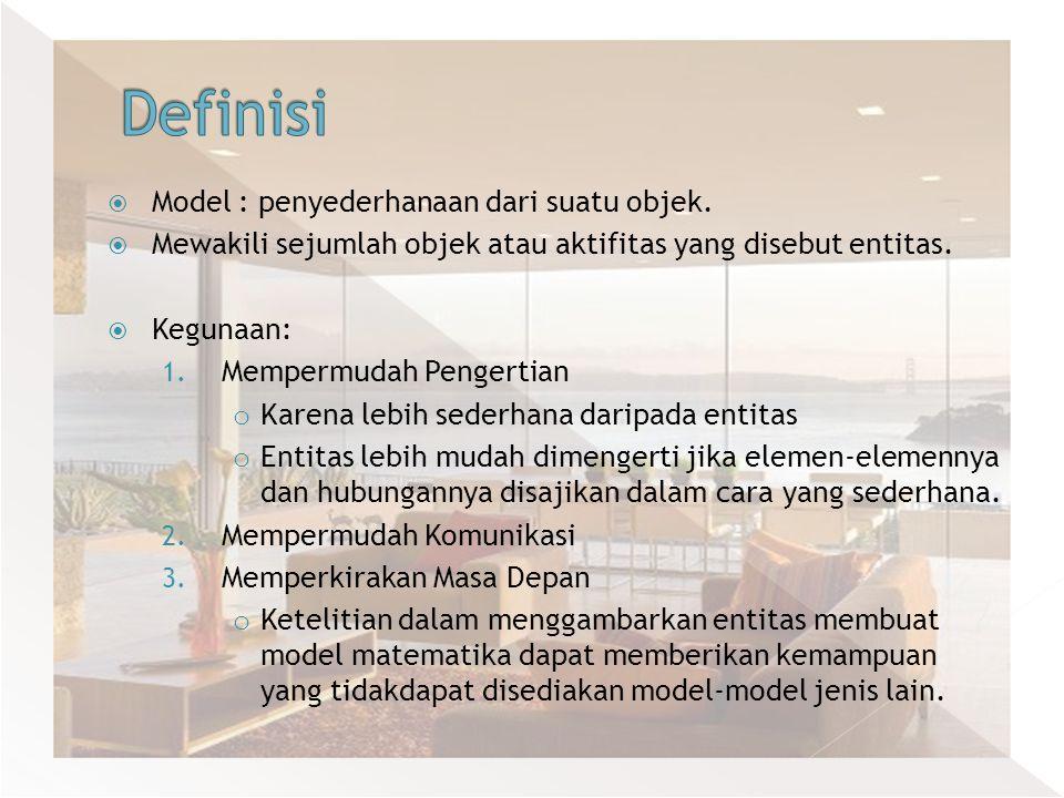  Model : penyederhanaan dari suatu objek.  Mewakili sejumlah objek atau aktifitas yang disebut entitas.  Kegunaan: 1. Mempermudah Pengertian o Kare