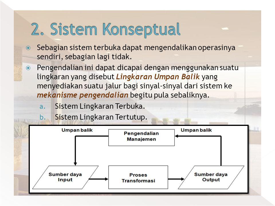  Sebagian sistem terbuka dapat mengendalikan operasinya sendiri, sebagian lagi tidak.  Pengendalian ini dapat dicapai dengan menggunakan suatu lingk