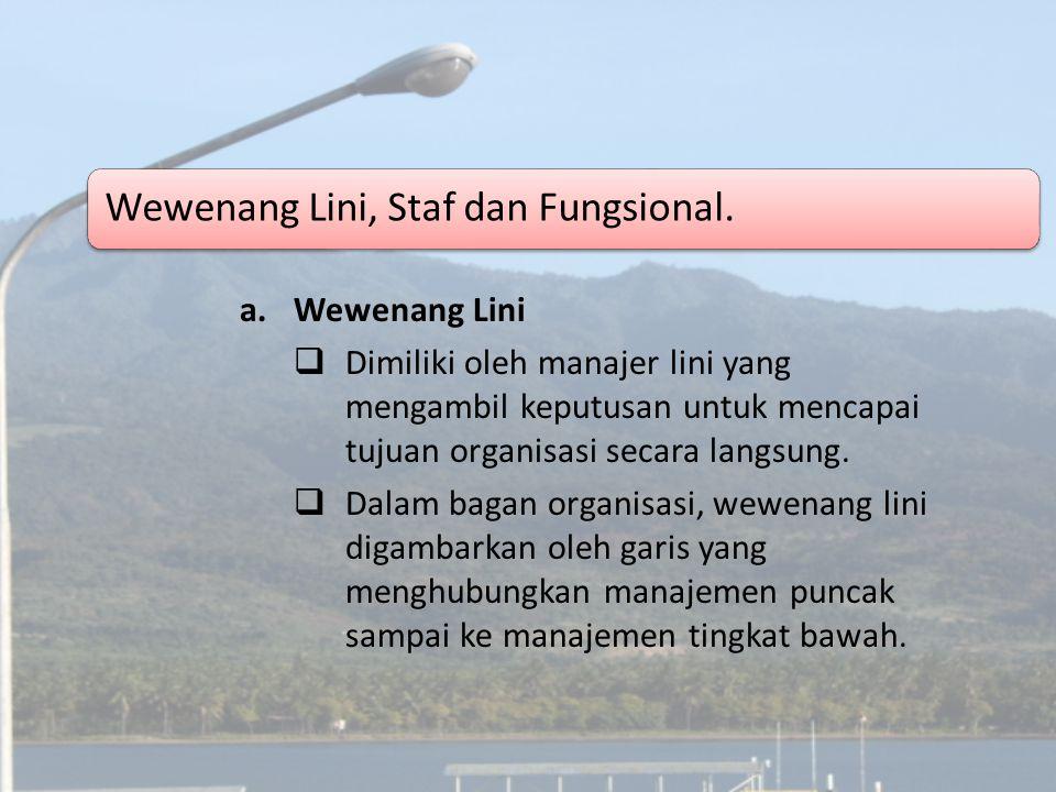 Wewenang Lini, Staf dan Fungsional. a.Wewenang Lini  Dimiliki oleh manajer lini yang mengambil keputusan untuk mencapai tujuan organisasi secara lang