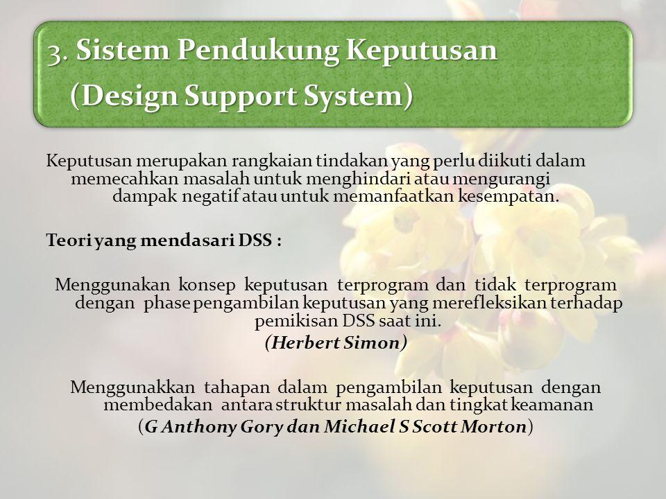 3. Sistem Pendukung Keputusan (Design Support System) (Design Support System) Keputusan merupakan rangkaian tindakan yang perlu diikuti dalam memecahk