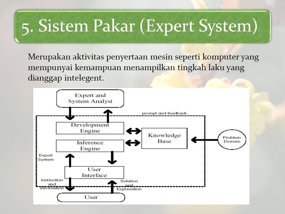 5. Sistem Pakar (Expert System) Merupakan aktivitas penyertaan mesin seperti komputer yang mempunyai kemampuan menampilkan tingkah laku yang dianggap