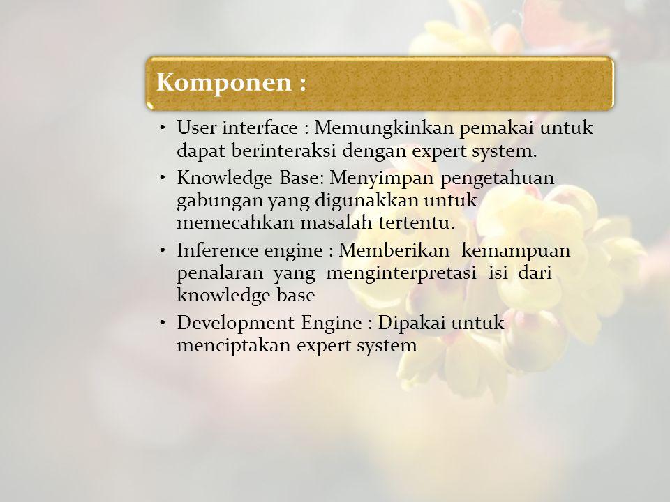 Komponen : User interface : Memungkinkan pemakai untuk dapat berinteraksi dengan expert system. Knowledge Base: Menyimpan pengetahuan gabungan yang di