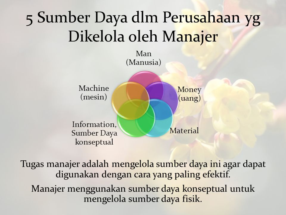 5 Sumber Daya dlm Perusahaan yg Dikelola oleh Manajer Man (Manusia) Money (uang) Material Information, Sumber Daya konseptual Machine (mesin) Tugas ma