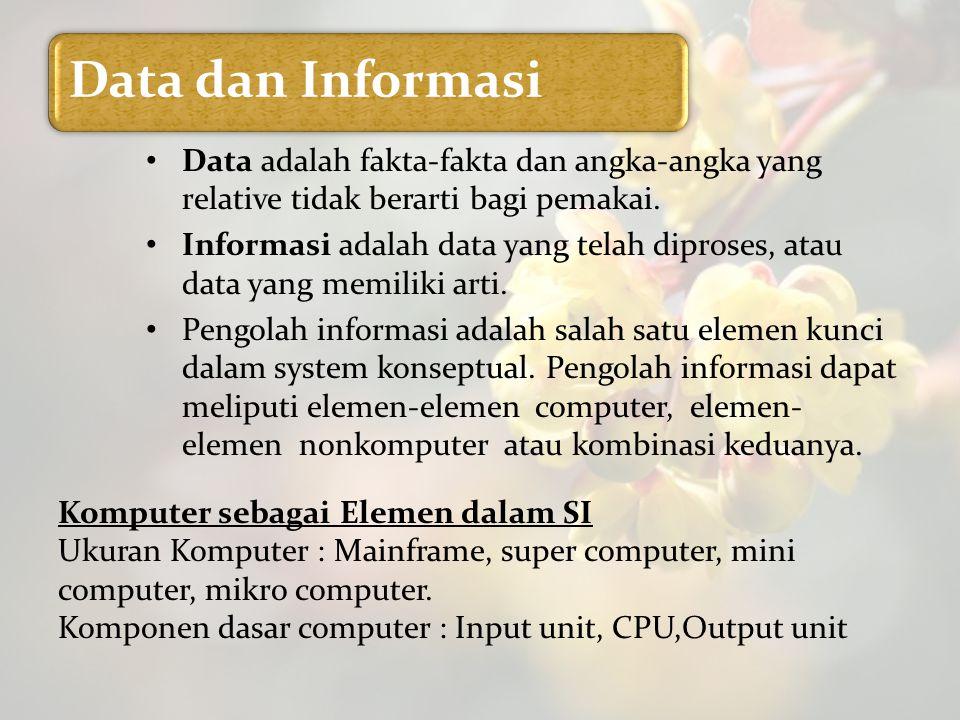 Data dan Informasi Data adalah fakta-fakta dan angka-angka yang relative tidak berarti bagi pemakai. Informasi adalah data yang telah diproses, atau d