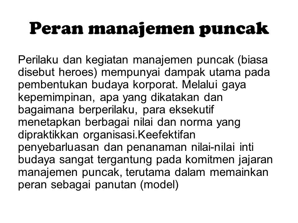 Peran manajemen puncak Perilaku dan kegiatan manajemen puncak (biasa disebut heroes) mempunyai dampak utama pada pembentukan budaya korporat. Melalui