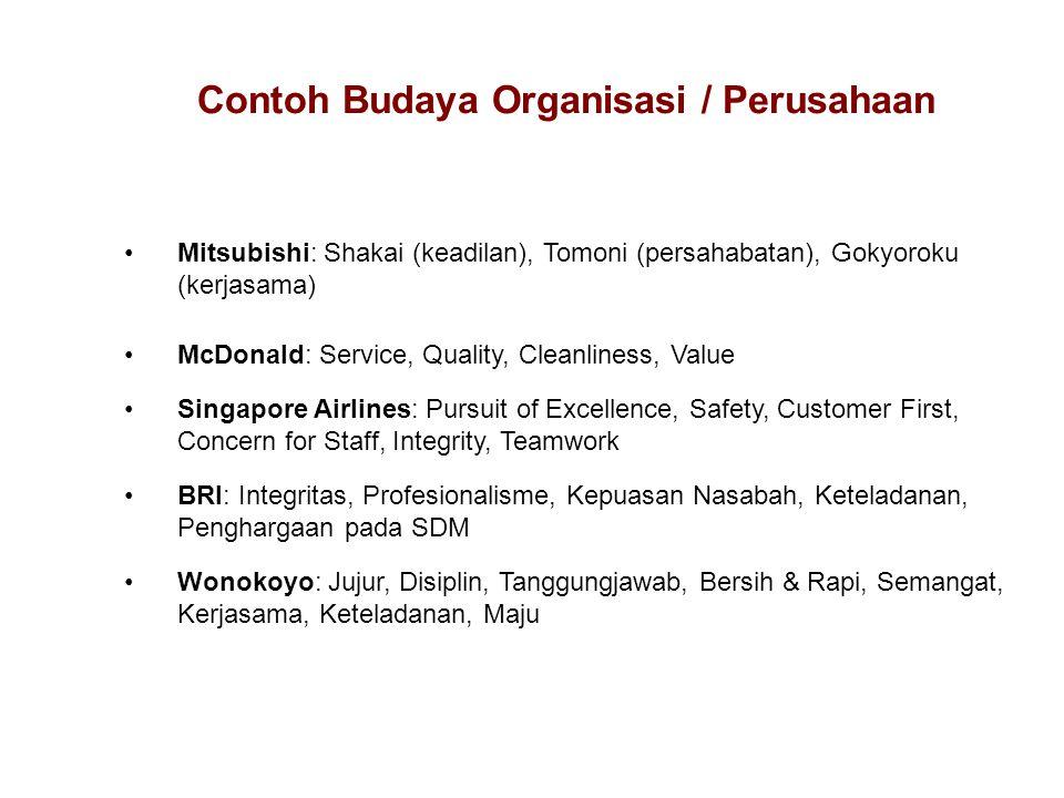 Mitsubishi: Shakai (keadilan), Tomoni (persahabatan), Gokyoroku (kerjasama) McDonald: Service, Quality, Cleanliness, Value Singapore Airlines: Pursuit