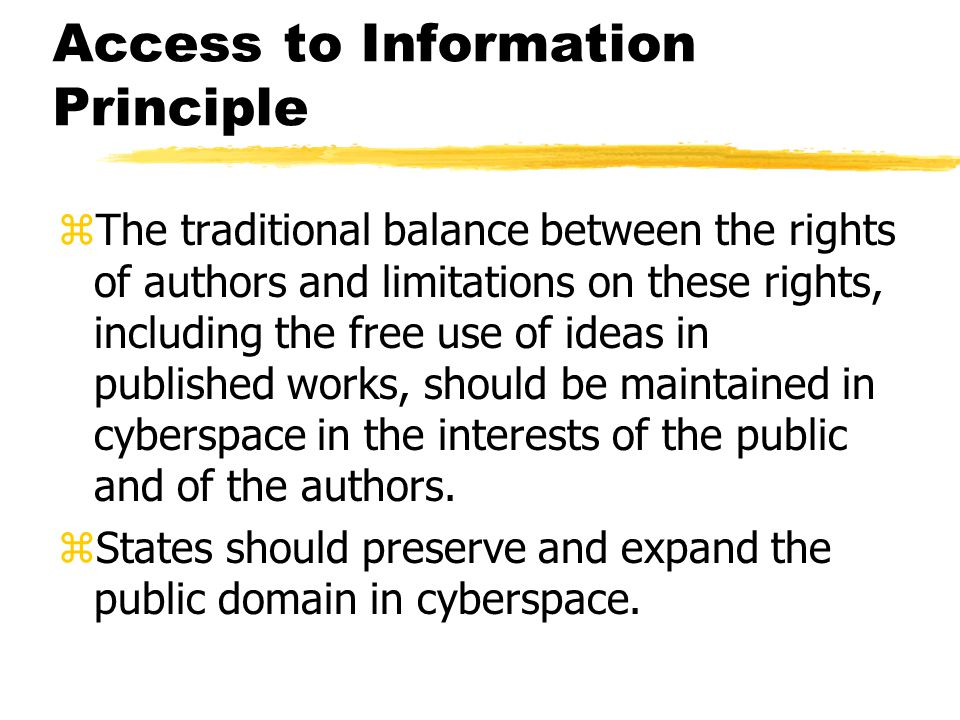 Access to Information Principle zPublic bodies should have an affirmative responsibility to make public information widely available on the Internet and to ensure the accuracy and timeliness of the information.
