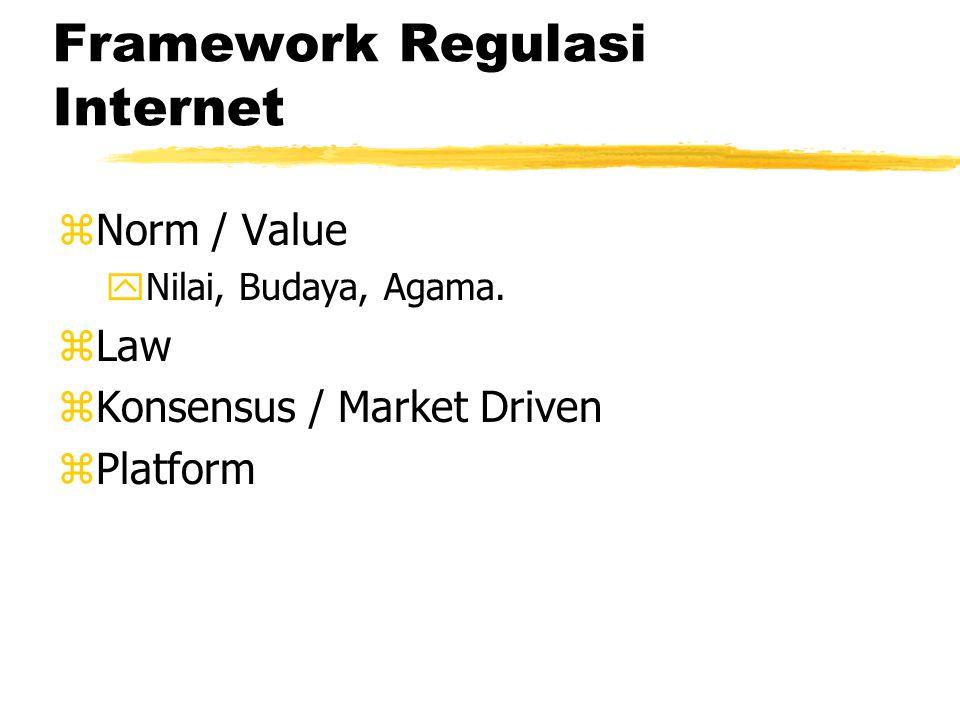 Framework Regulasi Internet zNorm / Value zLaw zKonsensus / Market Driven zPlatform