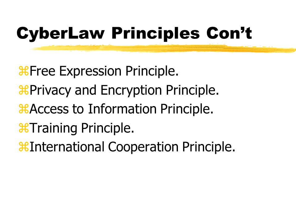 CyberLaw Principles zCommunication Principle. zParticipation Principle.