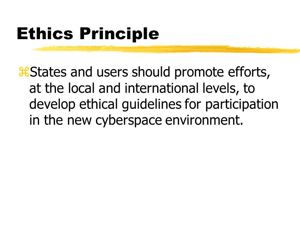 Ethics Principle zStates and users should promote efforts, at the local and international levels, to develop ethical guidelines for participation in the new cyberspace environment.