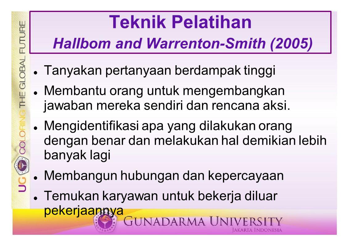 Teknik Pelatihan Hallbom and Warrenton-Smith (2005) Tanyakan pertanyaan berdampak tinggi Membantu orang untuk mengembangkan jawaban mereka sendiri dan