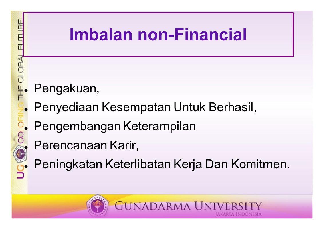 Imbalan non-Financial Pengakuan, Penyediaan Kesempatan Untuk Berhasil, Pengembangan Keterampilan Perencanaan Karir, Peningkatan Keterlibatan Kerja Dan