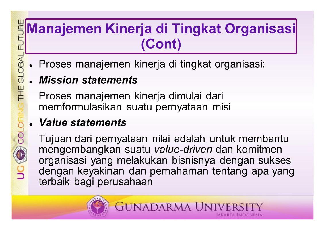 Manajemen Kinerja di Tingkat Organisasi (Cont) Proses manajemen kinerja di tingkat organisasi: Mission statements Proses manajemen kinerja dimulai dar