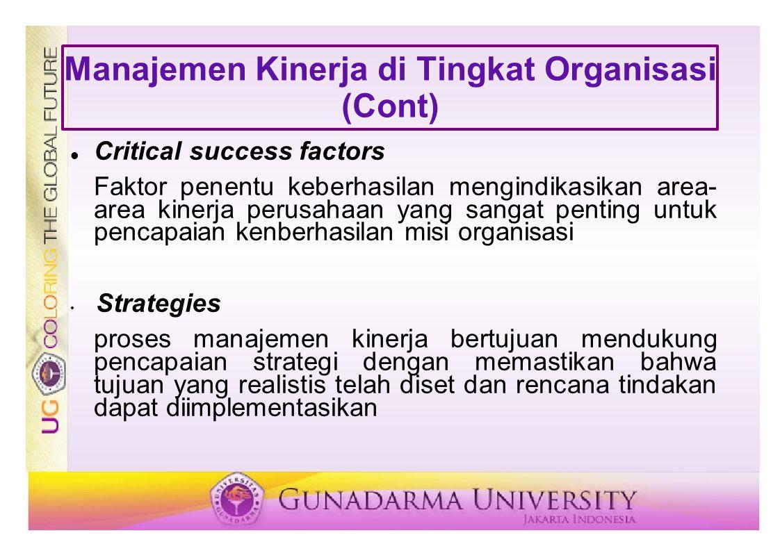 Manajemen Kinerja di Tingkat Organisasi (Cont) Critical success factors Faktor penentu keberhasilan mengindikasikan area- area kinerja perusahaan yang