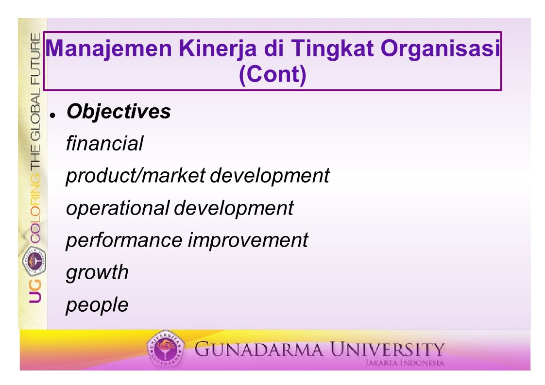 Manajemen Kinerja di Tingkat Organisasi (Cont) Objectives financial product/market development operational development performance improvement growth people