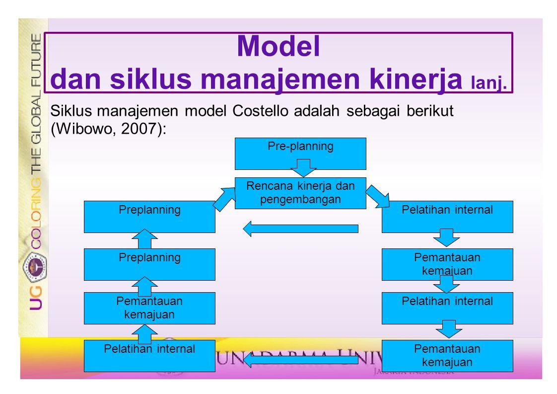 Model dan siklus manajemen kinerja lanj. Siklus manajemen model Costello adalah sebagai berikut (Wibowo, 2007): Pre-planning Rencana kinerja dan penge