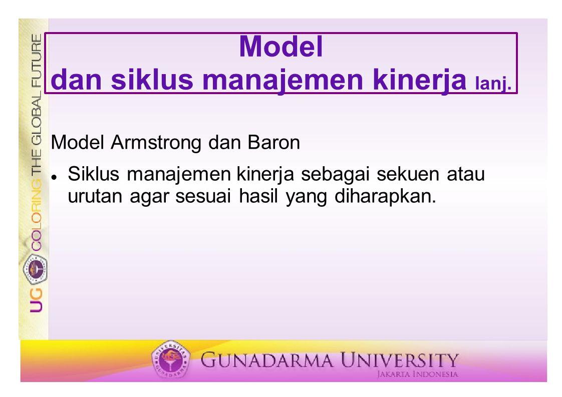 Model dan siklus manajemen kinerja lanj. Model Armstrong dan Baron Siklus manajemen kinerja sebagai sekuen atau urutan agar sesuai hasil yang diharapk