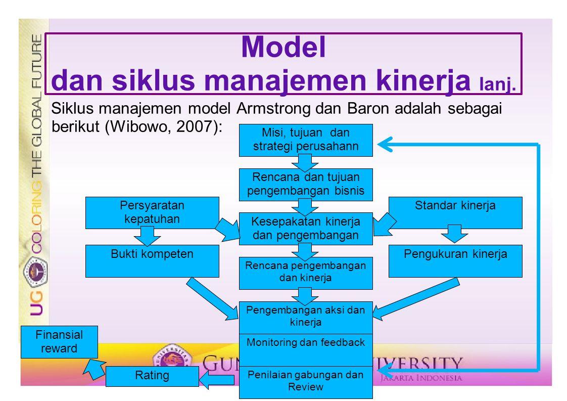 Model dan siklus manajemen kinerja lanj. Siklus manajemen model Armstrong dan Baron adalah sebagai berikut (Wibowo, 2007): Misi, tujuan dan strategi p