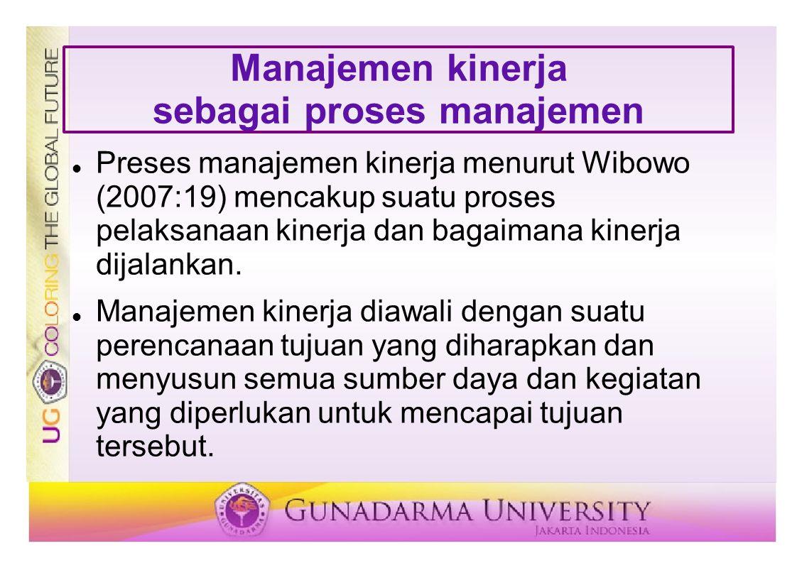 Manajemen kinerja sebagai proses manajemen Preses manajemen kinerja menurut Wibowo (2007:19) mencakup suatu proses pelaksanaan kinerja dan bagaimana k
